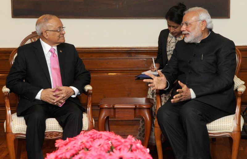 Former Maldives President, Maumoon Abdul Gayoom calls on the Prime Minister Narendra Modi, in New Delhi on Feb 5, 2015. - Narendra Modi