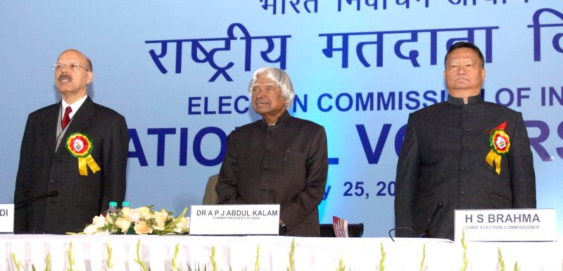 Former president of India Dr. A.P.J. Abdul Kalam at the 5th National level function of National Voters' Day (NVD), in New Delhi on Jan 25, 2015. Also seen Chief Election Commissioner ...