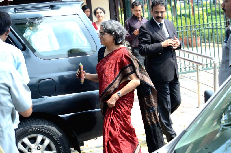 Former prime minister Dr. Manmohan Singh's daughter Upinder Singh comes out of the Supreme Court of India in New Delhi on April 1, 2015.