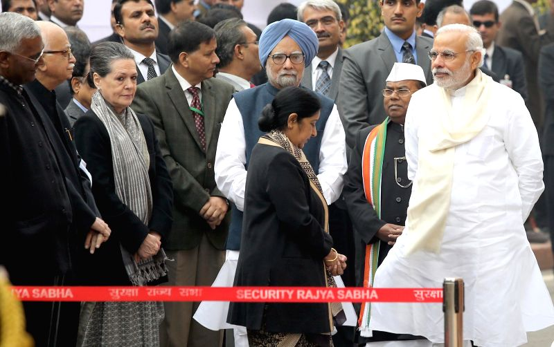 Former Prime Minister Manmohan Singh, Congress president Sonia Gandhi, External Affairs Minister Sushma Swaraj, Prime Minister Narendra Modi, senior BJP leader L K Advani and others ... - Manmohan Singh, Sushma Swaraj, Narendra Modi, Sonia Gandhi and L K Advani