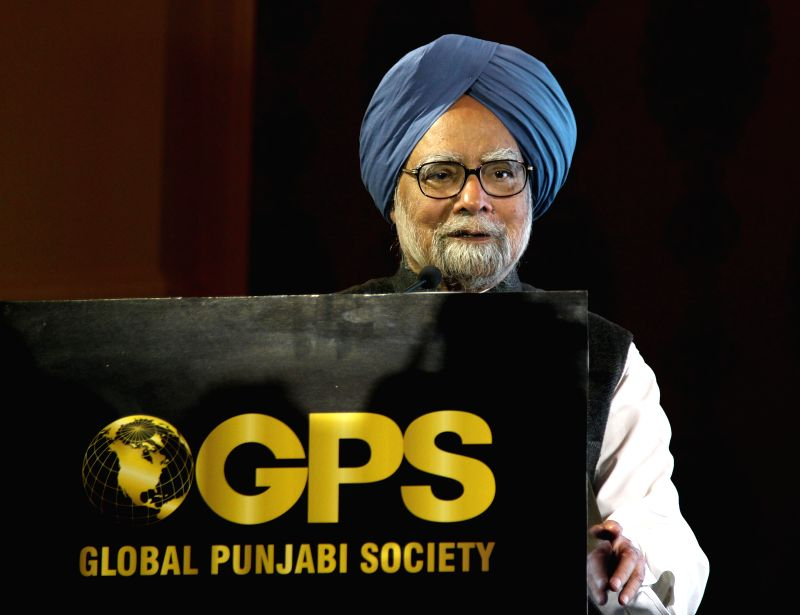 Former Prime Minister of India Manmohan Singh address during an award ceremony organised on Global Punjabi Divas 2015 organised by Global Punjabi Society in New Delhi.