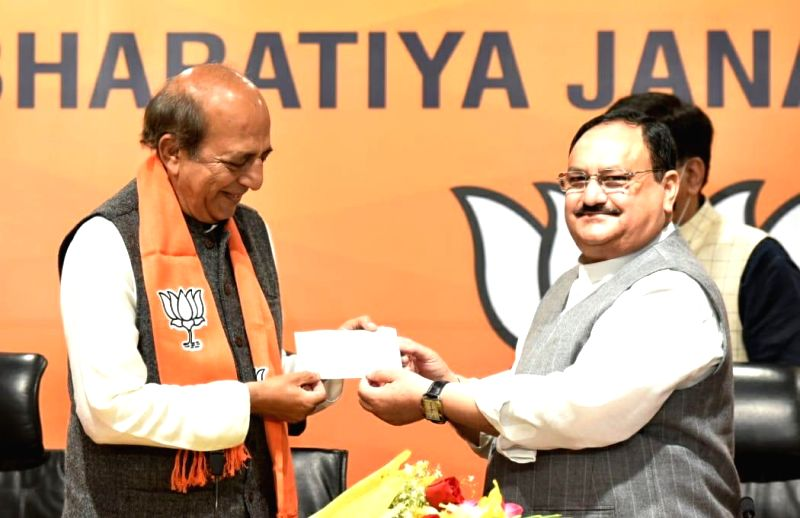 New Delhi: Former Railway Minister and Sr. TMC leader Dinesh Trivedi join BJP in the presence of national BJP president JP Nadda along with Piyush Goyal Minister of Railways, Union minister Dharmender Pradhan at BJP HQ in New Delhi on Saturday 06th M
