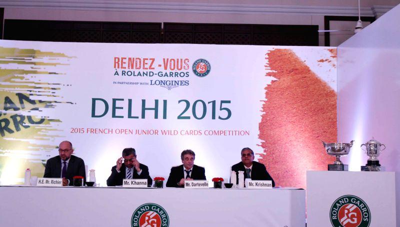French Ambassador to India Francois Richier, All India Tennis Association (AITA) president Anil Khanna, tennis coach and former professional tennis player Ramesh Krishnan during a press ... - Khanna