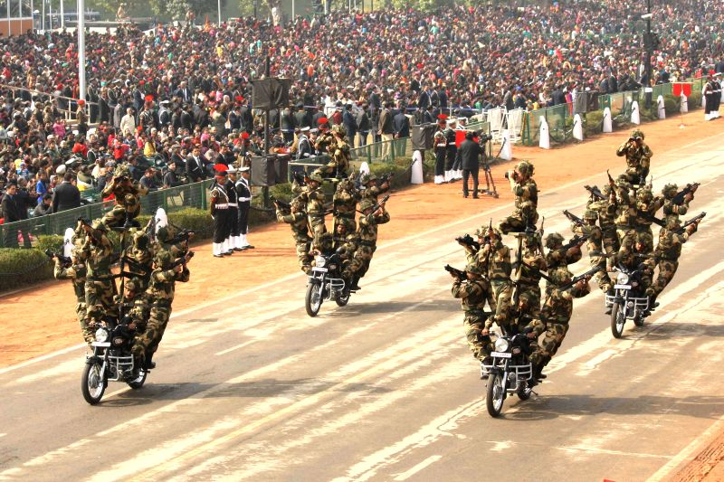 Full dress rehearsals for Republic Day Parade 2015 underway at Rajpath in New Delhi, on Jan 23, 2015.