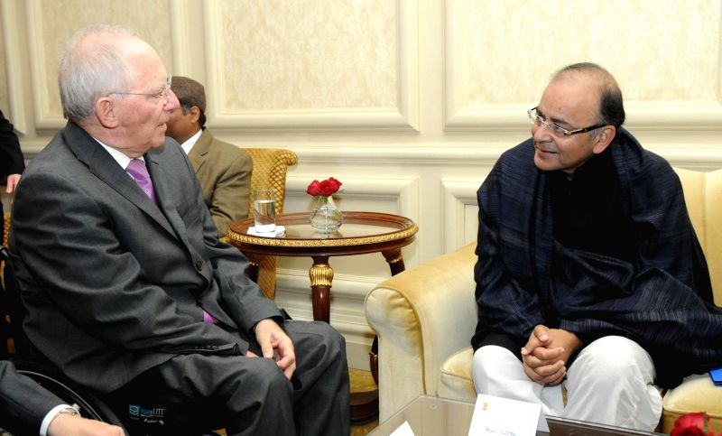 German Finance Minister Wolfgang Schauble calls on Union Minister for Finance, Corporate Affairs and Information & Broadcasting, Arun Jaitley in New Delhi, on Jan 20, 2015. - Wolfgang Schauble