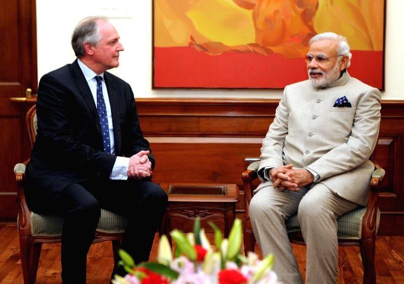 Global CEO, Unilever Paul Polman calls on the Prime Minister Narendra Modi, in New Delhi, on Feb 3, 2015. - Narendra Modi