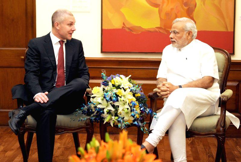 Global President and CEO, Sandvik Asia Pvt. Ltd., Olof Faxander calls on the Prime Minister Narendra Modi, in New Delhi on April 1, 2015. - Narendra Modi