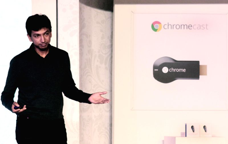 Google Chromecast product manager Vivek Jayaraman at the launch of Chromecast in New Delhi, on Dec 9, 2014.