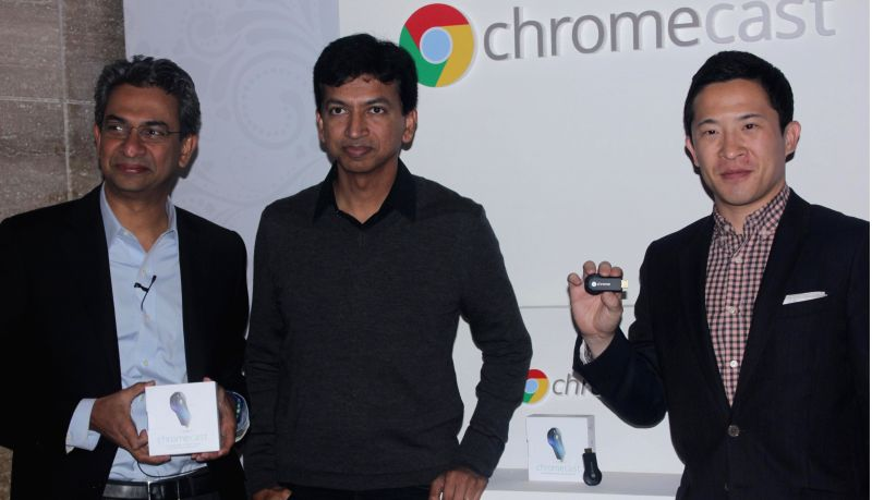 Google India MD Rajan Anandan, Google Chromecast product manager Vivek Jayaraman, APAC head Mickey Kim and Google Chromecast product manager Vivek Jayaraman at the launch of Chromecast in .