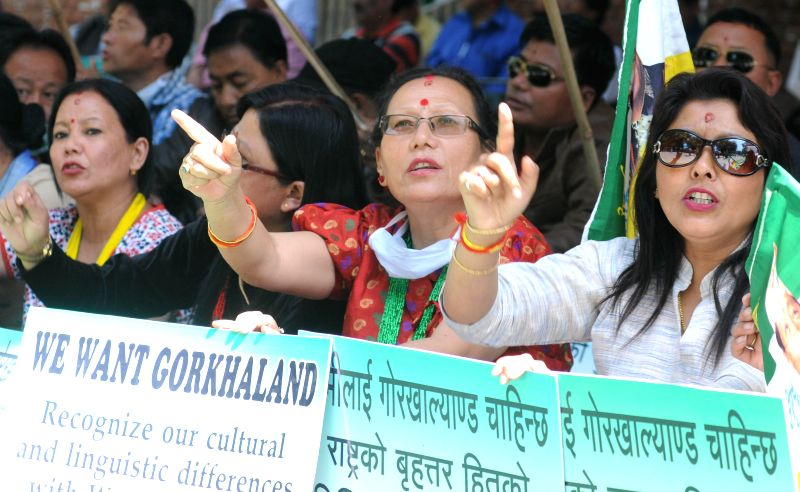 Gorkha Janmukti Morcha activists stage a demonstration to press for their demands of a separate Gorkhaland state, at Jantar Mantar in New Delhi, on March 9, 2015.