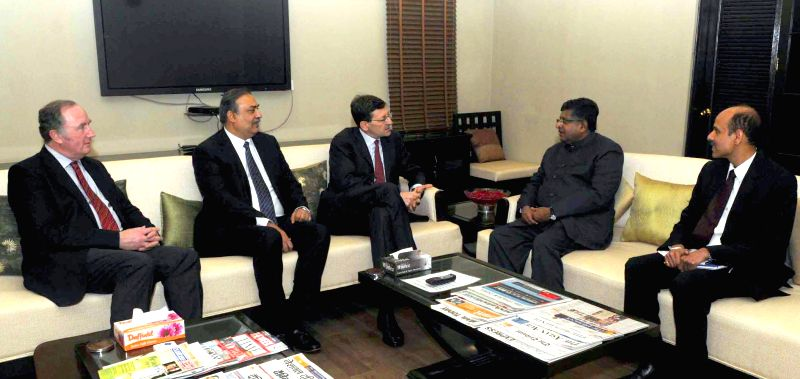 Group CEO, Vodafone Plc, Vittorio Colao and the Vodafone External Affairs Director, Matthew Kirk meets the Union Minister for Communications and Information Technology Ravi Shankar Prasad,