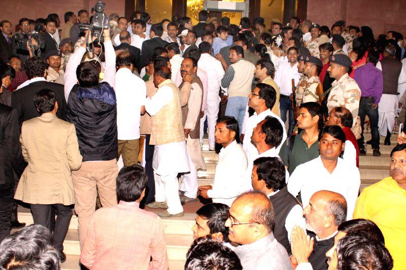 Guests waiting outside Ashoka Hotel to attend the Wedding Ceremony.during the  Wedding ceremony of Rashtriya Janata Dal chief Lalu Yadav's daughter Raj Lakshmi with Samajwadi Party supremo ... - Mulayam Singh Yadav and Tej Pratap Yadav