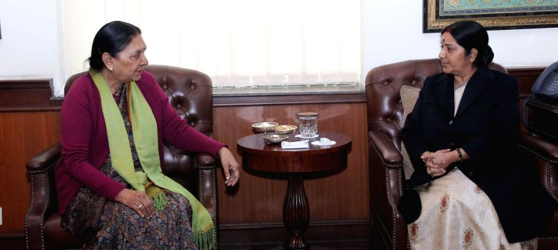 Gujarat Chief Minister Anandiben Patel calls on Union Minister for External Affairs and Overseas Indian Affairs Sushma Swaraj in New Delhi, on Dec 22, 2014. - Anandiben Patel