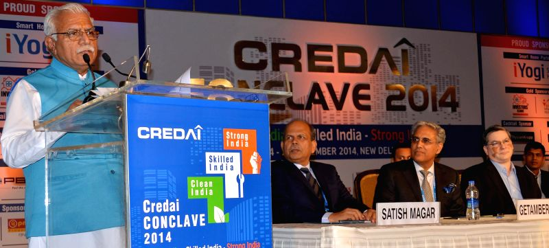 Haryana Chief Minister Manohar Lal Khattar at the CREDAI Conclave 2014 in New Delhi, on Nov 24, 2014. - Manohar Lal Khattar