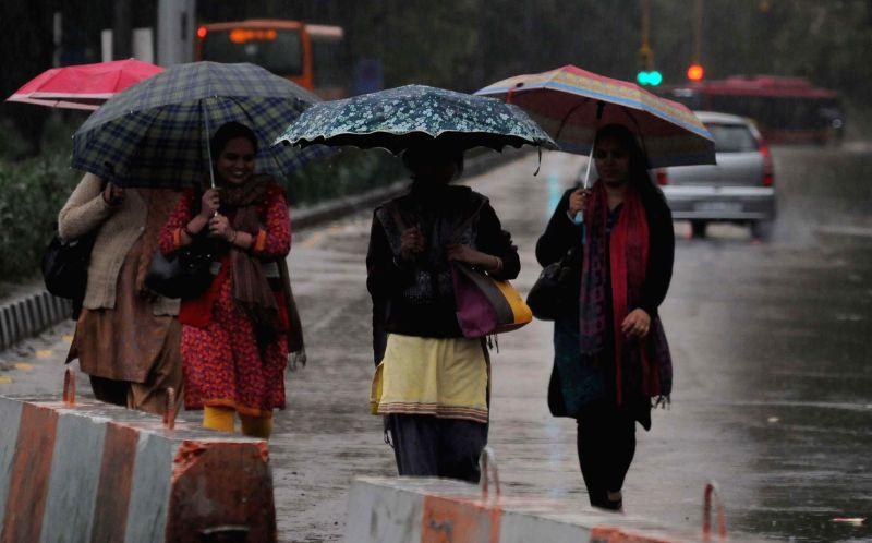 Heavy rains lash national capital in New Delhi, on March 2, 2015.