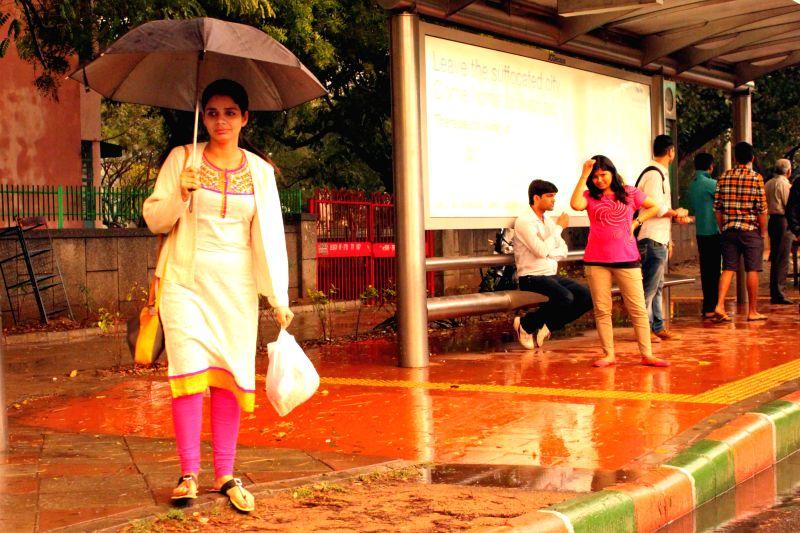 Heavy rains lash New Delhi on March 7, 2015.
