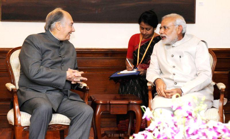 His Highness Prince Karim Aga Khan calls on the Prime Minister Narendra Modi, in New Delhi on April 7, 2015. - Narendra Modi