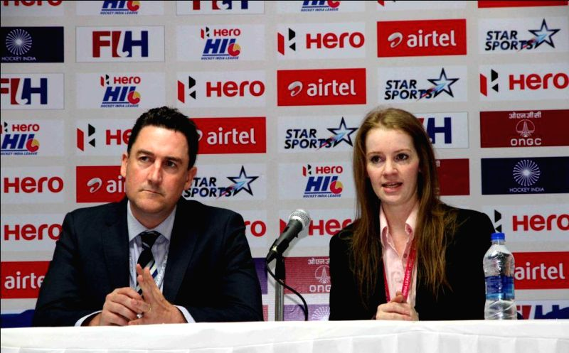 Hockey India CEO, Elena Norman and Hockey Australia Chief Executive, Cam Vale signs a bilateral agreement for the next three years, 2016-2018 in New Delhi on Feb 21, 2015.