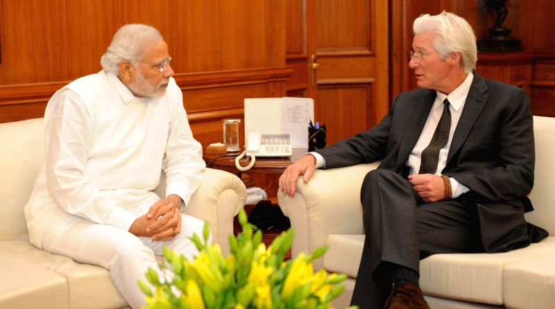 Hollywood actor and Chairman of Gere Foundation and Global Envoy of International Buddhist Confederation Richard Gere calls on the Prime Minister Narendra Modi, in New Delhi on Jan. 5, ... - Narendra Modi