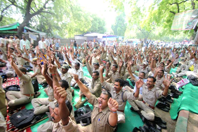 Homeguards stage a demonstration to press for their demands at Jantar Mantar in New Delhi, on May 5, 2015.