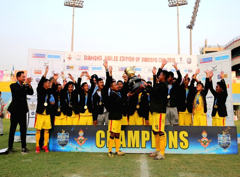 New Delhi: Hopewel Elias Higher Secondary School, Meghalaya celebrates after defeating Bangladesh Krida ShikshaProthishtan (BKSP) by a score line of 1-0 in the final of U17 Junior Boys SubrotoCup International Football Tournament at Dr. Ambedkar Stad