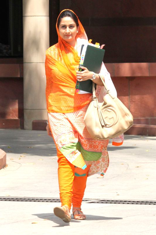 HRD Minister Smriti Irani after the Union Cabinet  meeting at Parliament House on May 05,2015. - Smriti Irani