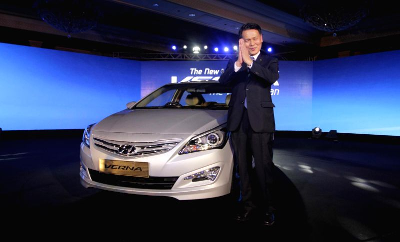 Hyundai Motor India (HMIL) MD and CEO B S Seo at the launch of the New 4S Fluidic Verna in New Delhi on Feb 18, 2015.