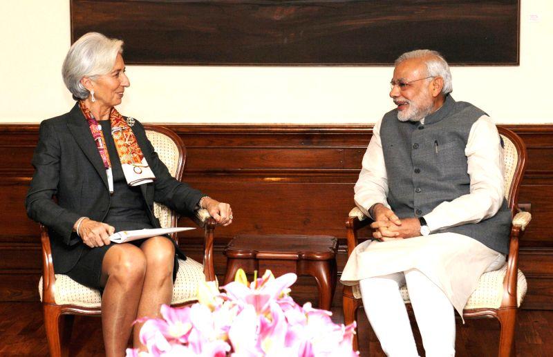 IMF Managing Director Christine Lagarde calls on the Prime Minister Narendra Modi, in New Delhi on March 16, 2015. - Narendra Modi