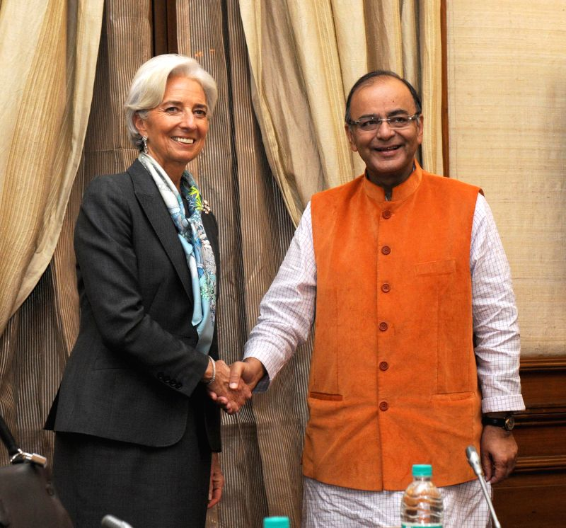 IMF Managing Director Christine Lagarde calls on the Union Minister for Finance, Corporate Affairs and Information and Broadcasting, Arun Jaitley, in New Delhi on March 16, 2015.