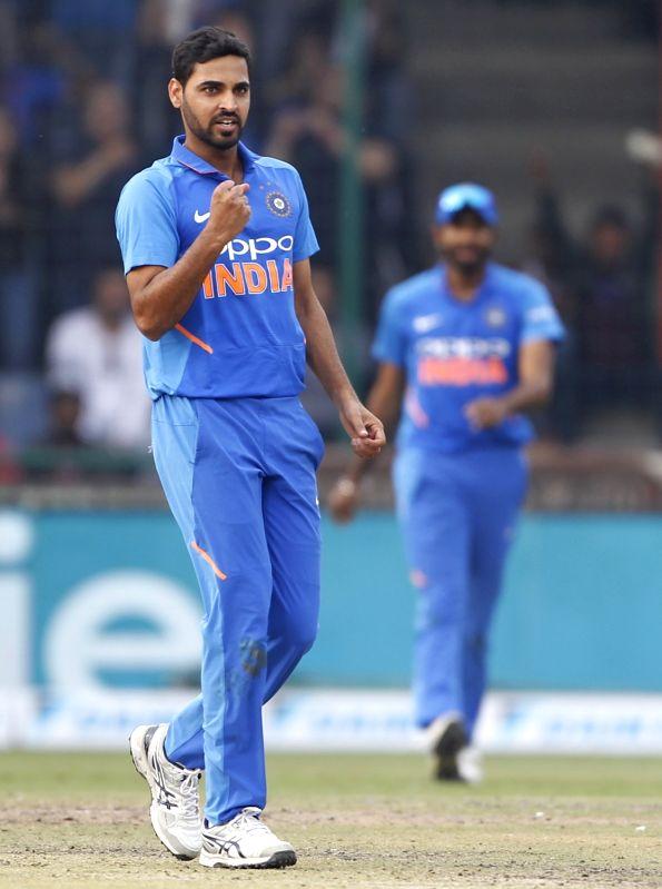 New Delhi: India's Bhuvneshwar Kumar celebrates the fall of Marcus Stoinis's wicket during the fifth ODI match between India and Australia at Feroz Shah Kotla Stadium, in New Delhi, on March 13, 2019. (Photo: Surjeet Yadav/IANS)