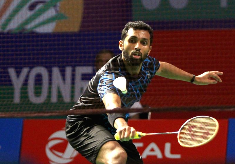 New Delhi: India's H.S. Prannoy in action against Thailand's Kantaphon Wangcharoen during Yonex-Sunrise India Open 2019 in New Delhi on March 27, 2019. (Photo: IANS)
