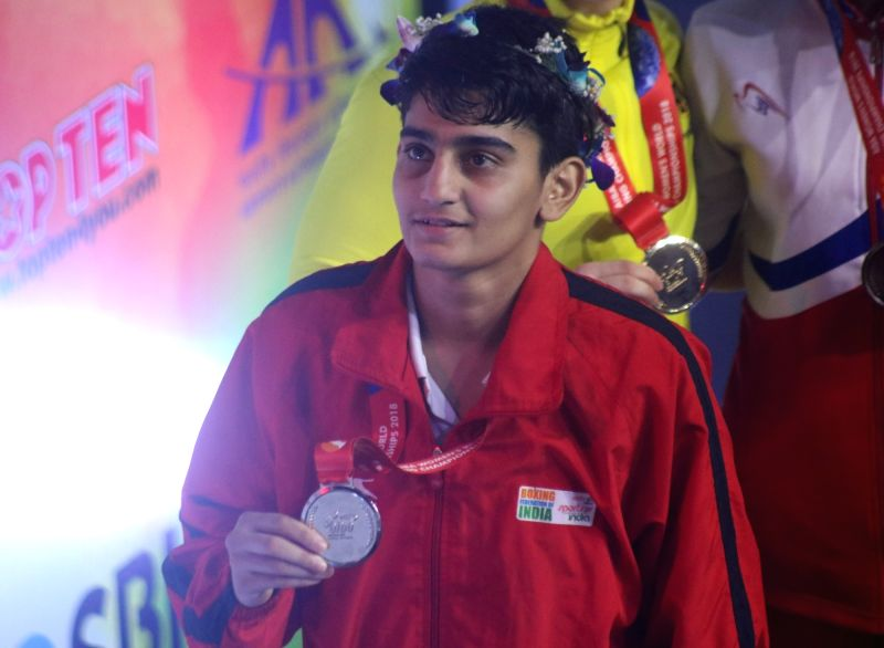 New Delhi: India's Sonia Chahal with her silver after a final match against Germany's Ornella Gabriele Wahner during the 10th AIBA Women's World Boxing Championships at the K.D. Jadhav Indoor Stadium in New Delhi, on Nov 24, 2018. Sonia went down 1:4