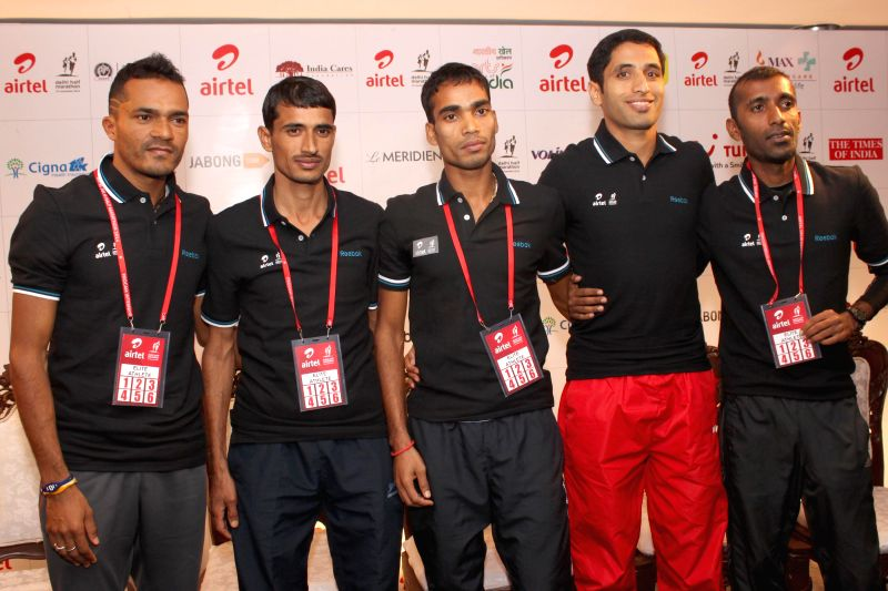 Indian athletes during the Meet and Greet session of the Airtel Delhi Half Marathon in New Delhi on Nov 22, 2014.