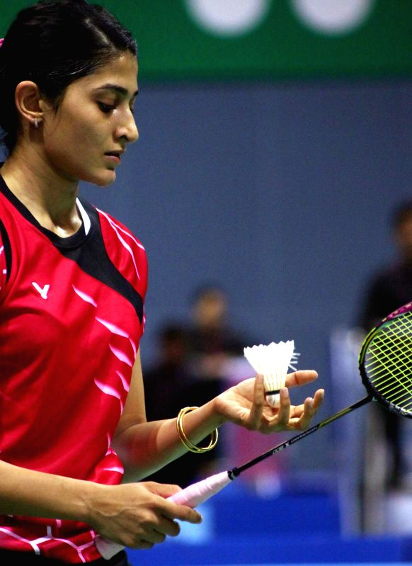 Indian badminton player Ashwini Ponnappa during a Yonex Sunrise Indian Open Badminton Championship match against OU Dongni and Xiaohan Yu of China in New Delhi on March 25, 2015.
