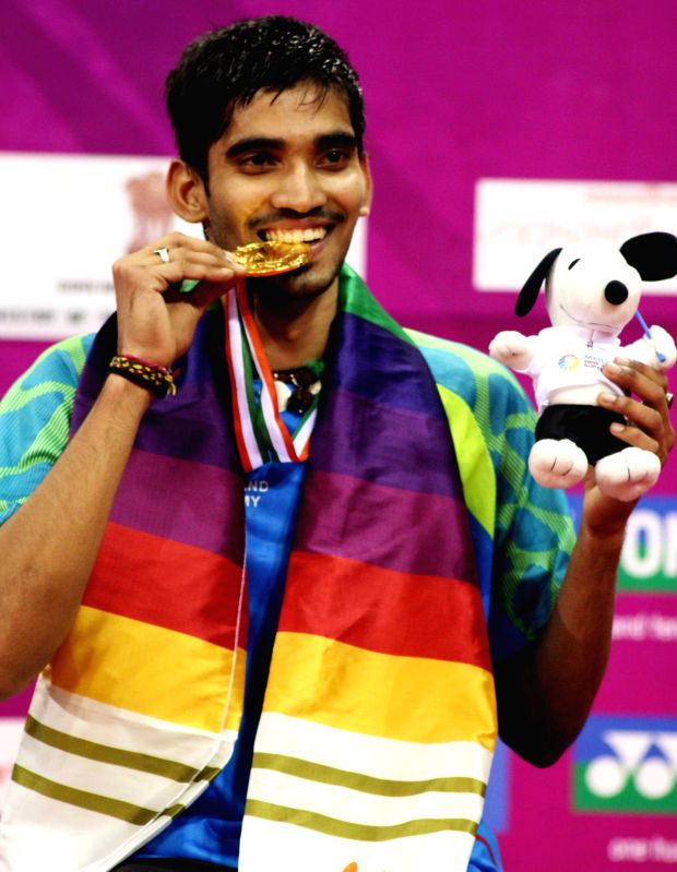 Indian badminton player Srikanth Kidambi after winning Indian Open Badminton Championship in New Delhi on March 29, 2015.
