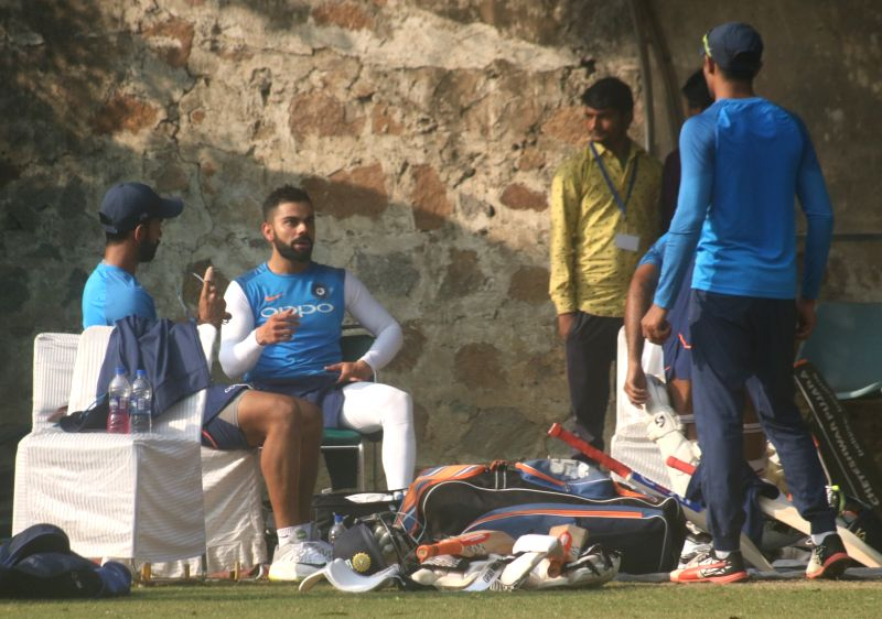 New Delhi:Indian captain Virat Kohli during a practice session ahead of the third test match against Sri Lanka that is scheduled to be held from 3rd December; in New Delhi on Dec 1, 2017. - Virat Kohli