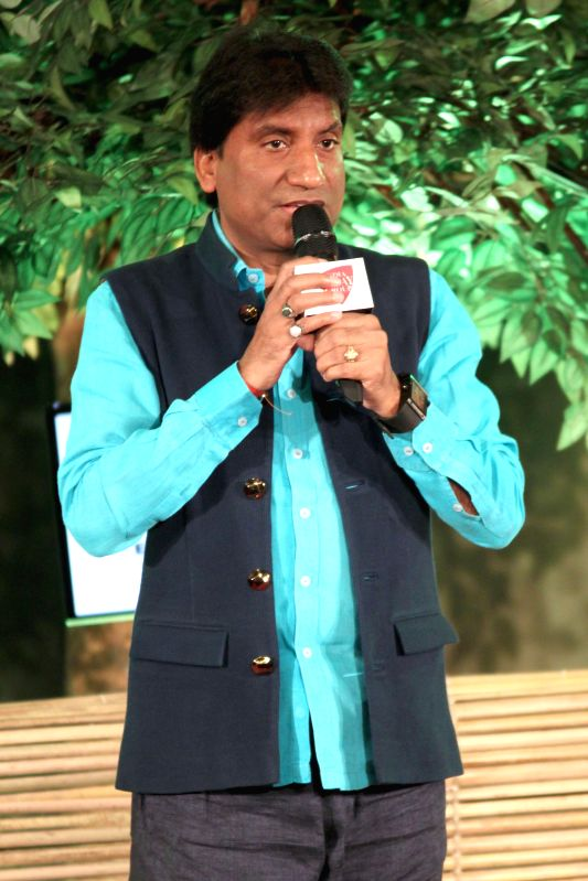 Indian comedian Raju Srivastav during a programme organised by Aaj Tak in New Delhi, on Dec 12, 2014.