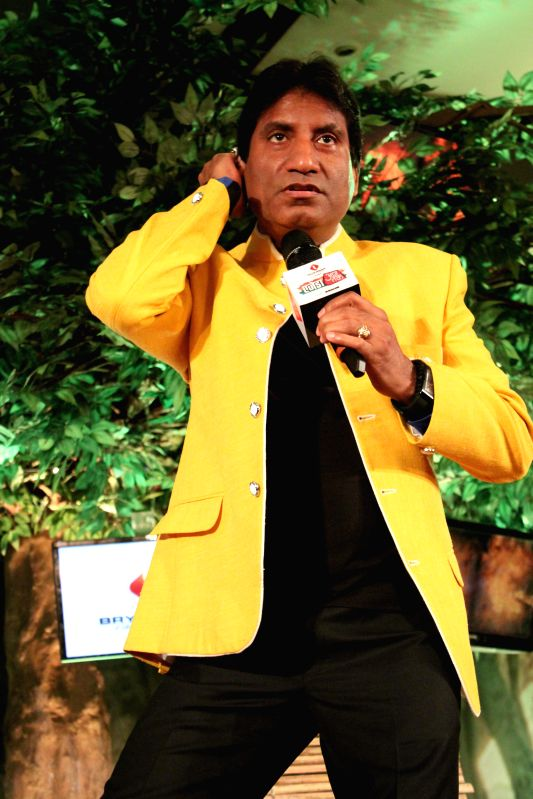 Indian comedian Raju Srivastav during a programme organised by Aaj Tak news channel in New Delhi, on Dec 13, 2014.
