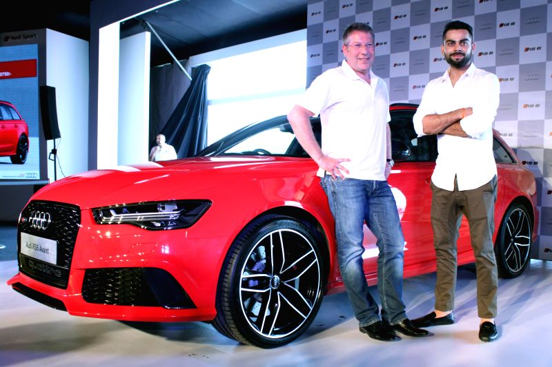 Indian cricketer Virat Kohli during a programme organised to unveil Audi's RS 6 Avant in New Delhi, on June 4, 2015.
