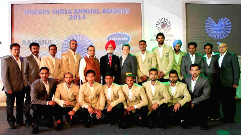 Indian hockey players at the inaugural of Hockey India Awards 2015 in New Delhi, on March 28, 2015.