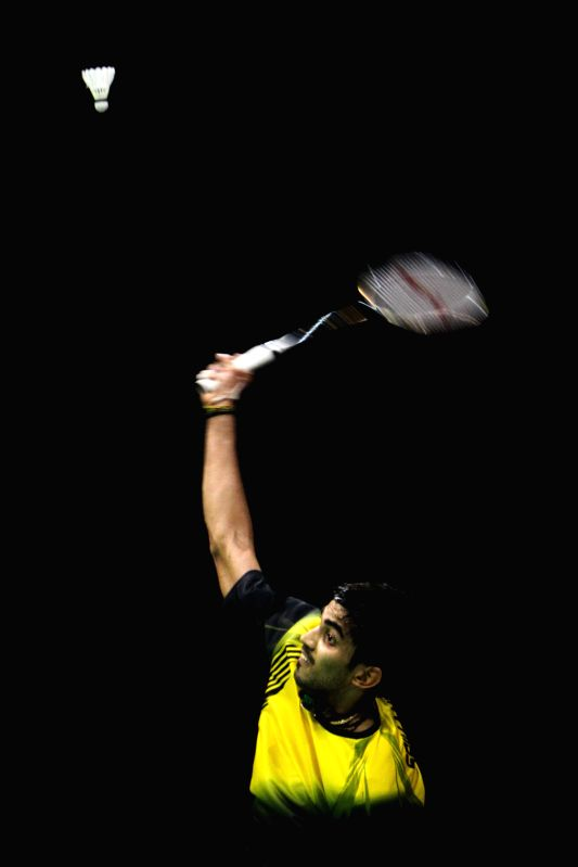 Indian shuttler K Srikanth in action during the Yonex Sunrise Indian Open Badminton Championship in New Delhi on March 29, 2015.
