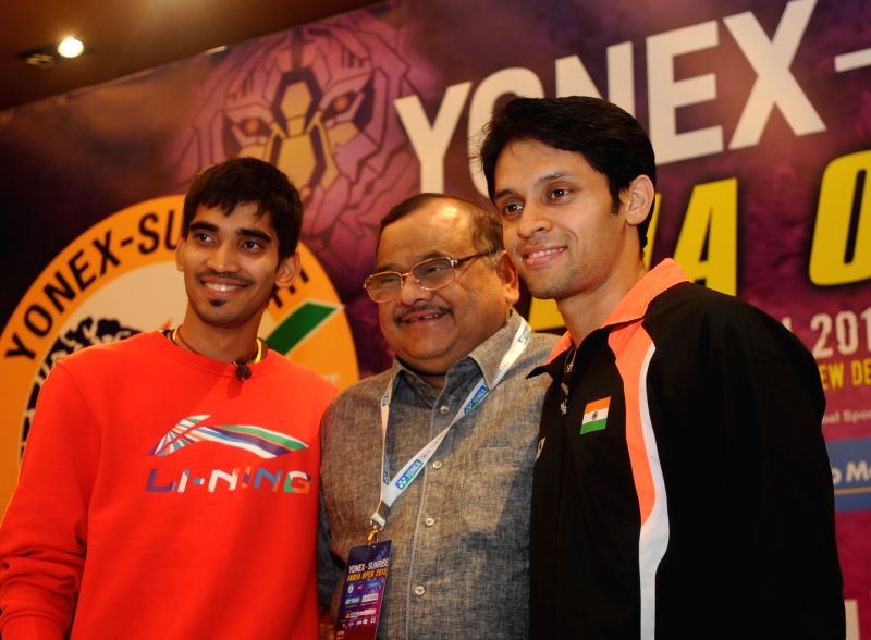 Indian shuttlers Kidambi Srikanth and Parupalli Kashyap during a press conference regarding Yonex Sunrise India Open 2015 in New Delhi, on March 23, 2015. - Parupalli Kashyap