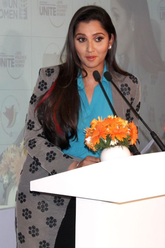 Indian tennis player​ Sania Mirza during a programme organised on `International Day for Elimination of Violence against Women` in New Delhi, on Nov 25, 2014. She has been made the brand
