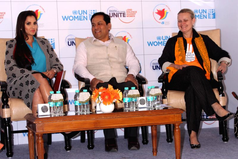Indian tennis player​ Sania Mirza, Union MoS for Youth Affairs and Sports (Independent Charge) Sarbananda Sonowal and United Nations Resident Coordinator Lise Grande during a programme ..