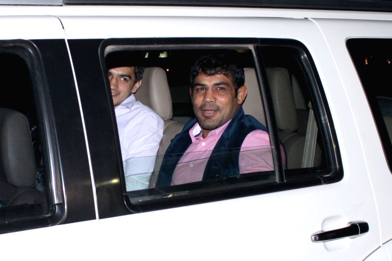 Indian World Champion wrestler Sushil Kumar arrives to attend the marriage ceremony of cricketer Suresh Raina in New Delhi on April 3, 2015. - Sushil Kumar