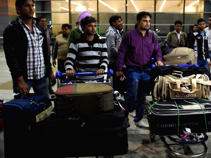 Indians who had been stranded in Basra city of war hit Iraq arrive at Delhi Airport on Feb 22, 2015.