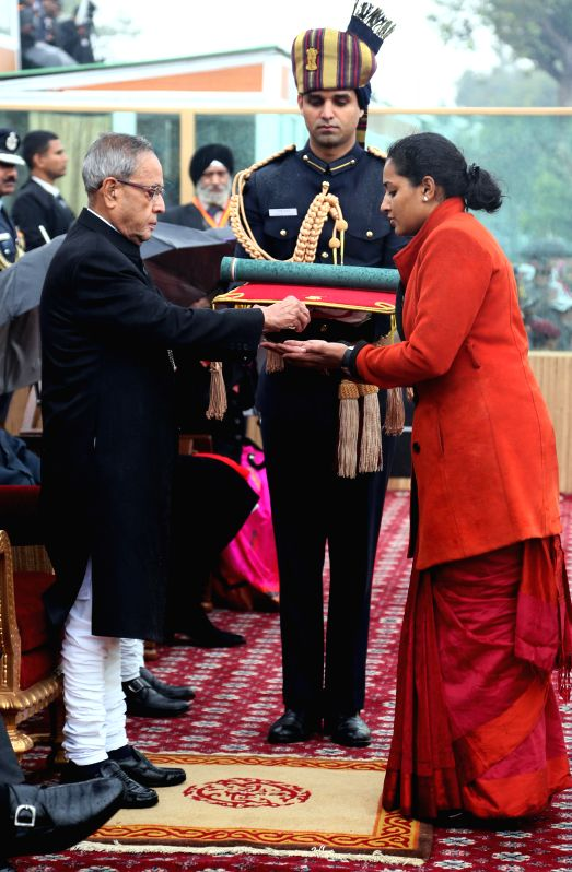 Indu Varadarajan, the wife of late Major Mukund Varadarajan receives the nation's highest peacetime gallantry award, the Ashoka Chakra from President Pranab Mukherjee  on Republic Day in .. - Pranab Mukherjee