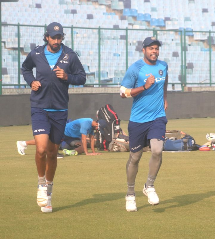 New Delhi: Ishant Sharma and Umesh Yadav of India during a practice session ahead of the third test match against Sri Lanka that is scheduled to be held from 3rd December; in New Delhi on Dec 1, 2017. (Photo: Bidesh Manna/IANS)
