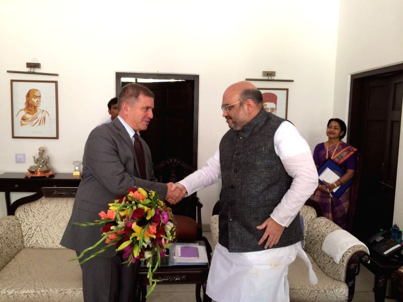 Israel's Ambassador to India Daniel Carmon, calls on BJP chief Amit Shah at his residence in New Delhi on April 29, 2015.