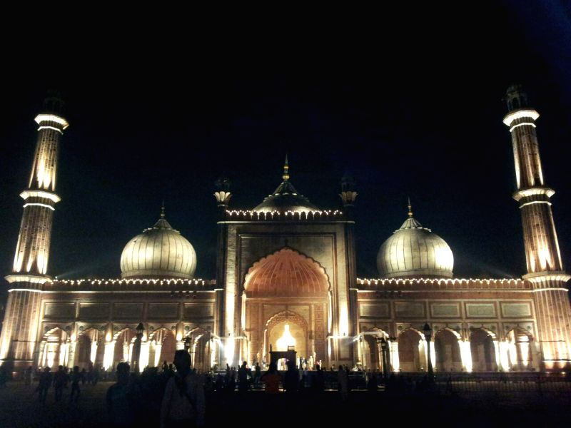 Jama Masjid spectacularly illuminated on the eve of the anointment ceremony of Shaban Bukhari, the son of Shahi Imam Syed Ahmed Bukhari as Naib Imam of the 17th century mosque in New ...